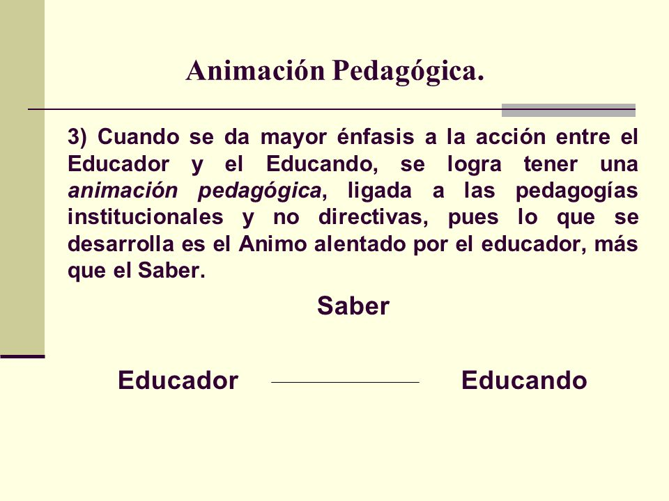 Animación Pedagógica. Saber Educador Educando