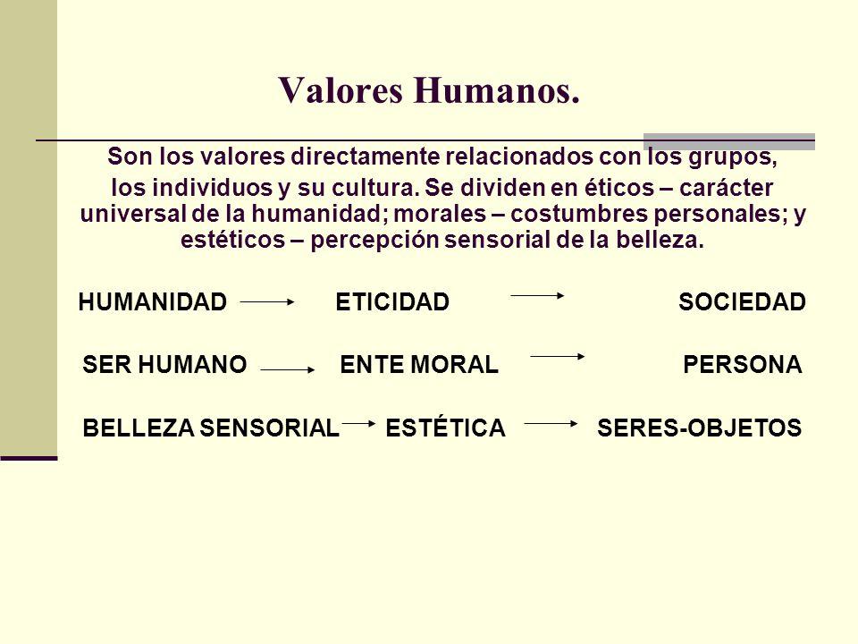 Valores Humanos. Son los valores directamente relacionados con los grupos,