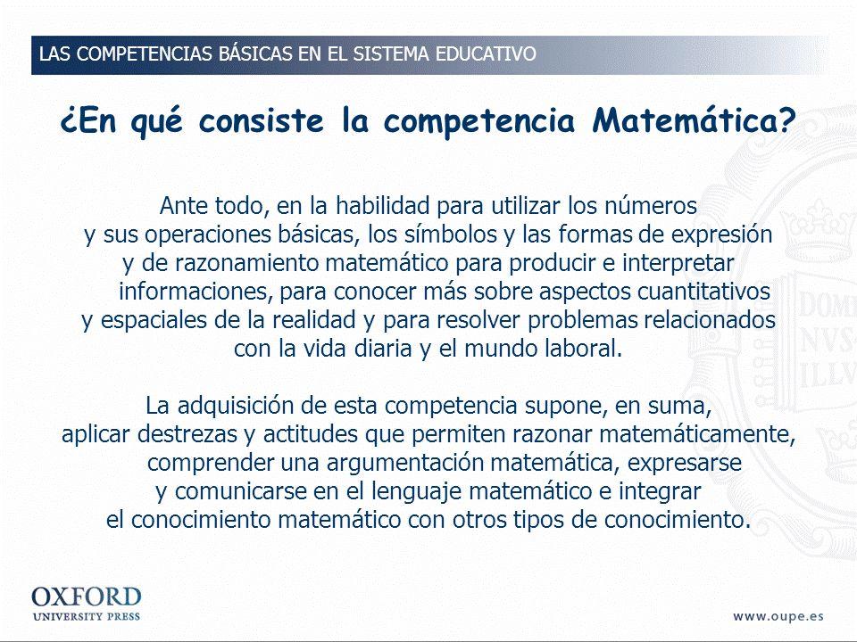 ¿En qué consiste la competencia Matemática