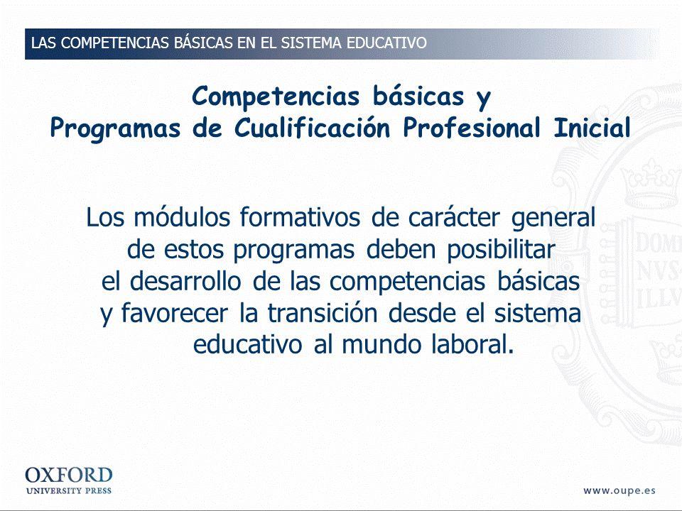 Competencias básicas y Programas de Cualificación Profesional Inicial
