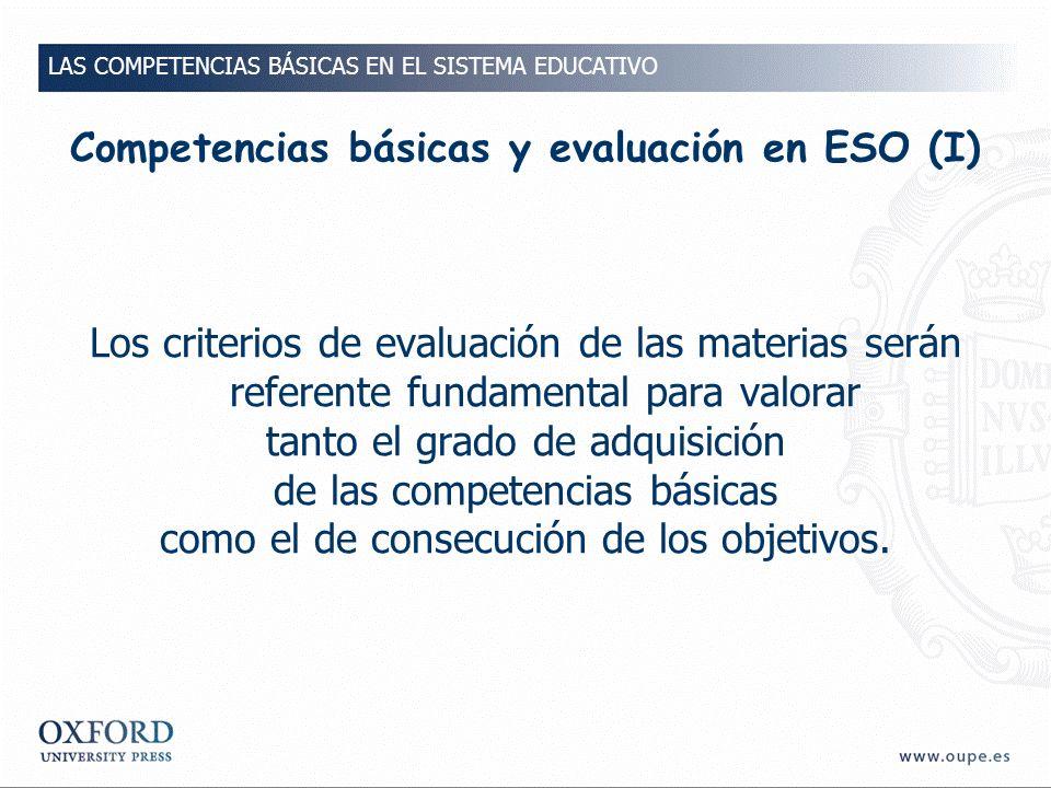Competencias básicas y evaluación en ESO (I)
