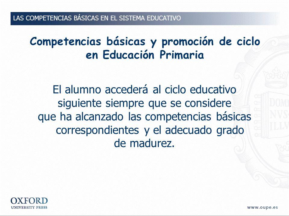 Competencias básicas y promoción de ciclo en Educación Primaria