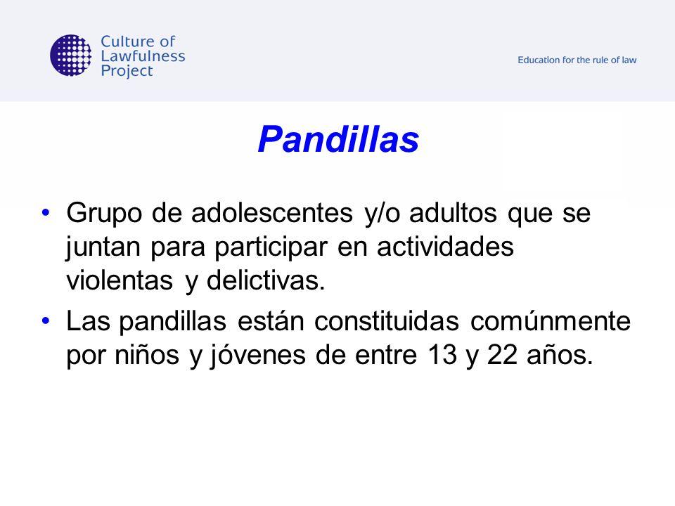 Pandillas Grupo de adolescentes y/o adultos que se juntan para participar en actividades violentas y delictivas.
