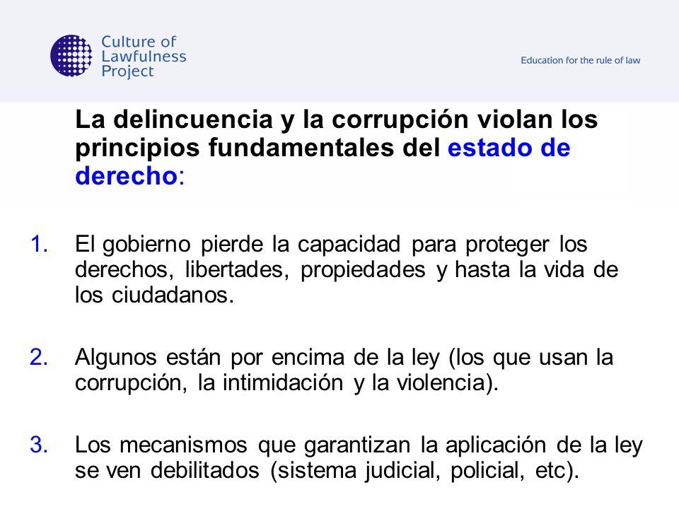 La delincuencia y la corrupción violan los principios fundamentales del estado de derecho: