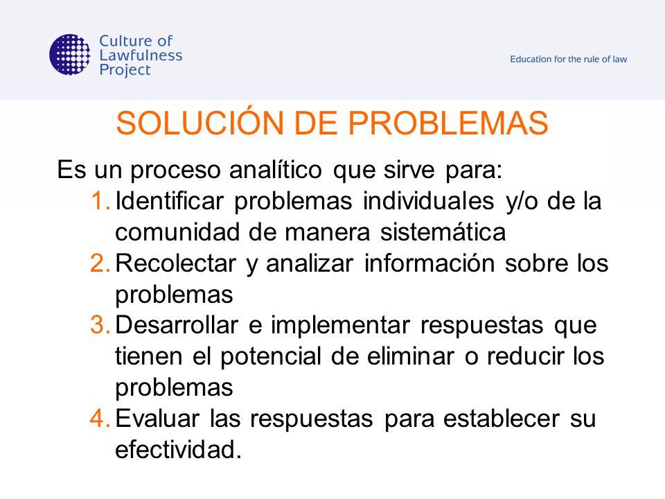 SOLUCIÓN DE PROBLEMAS Es un proceso analítico que sirve para: