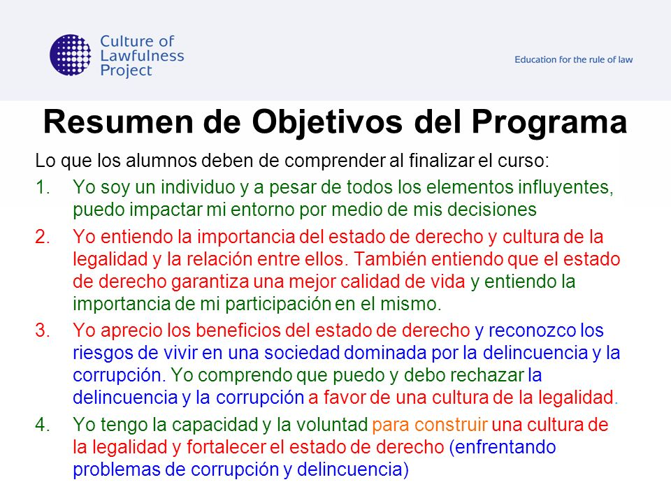 Resumen de Objetivos del Programa