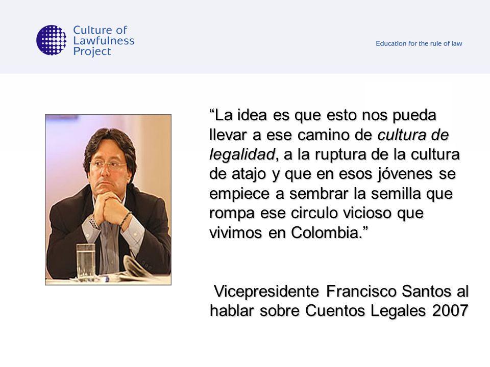 Vicepresidente Francisco Santos al hablar sobre Cuentos Legales 2007