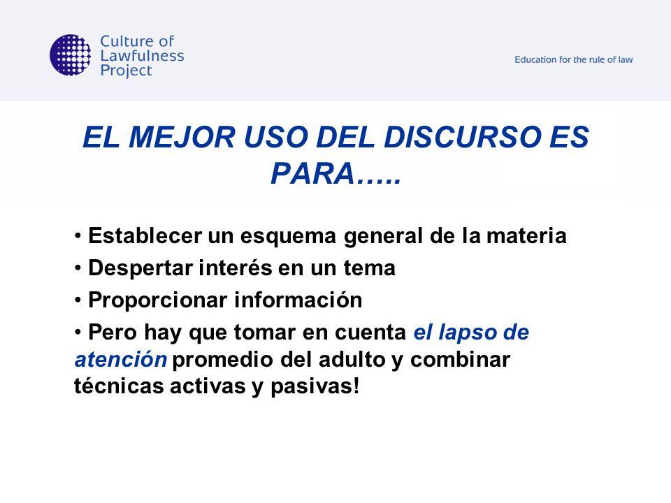 EL MEJOR USO DEL DISCURSO ES PARA…..