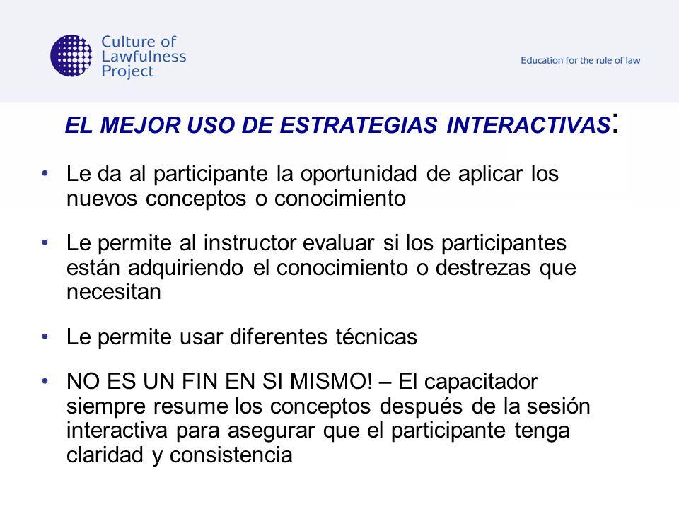 EL MEJOR USO DE ESTRATEGIAS INTERACTIVAS: