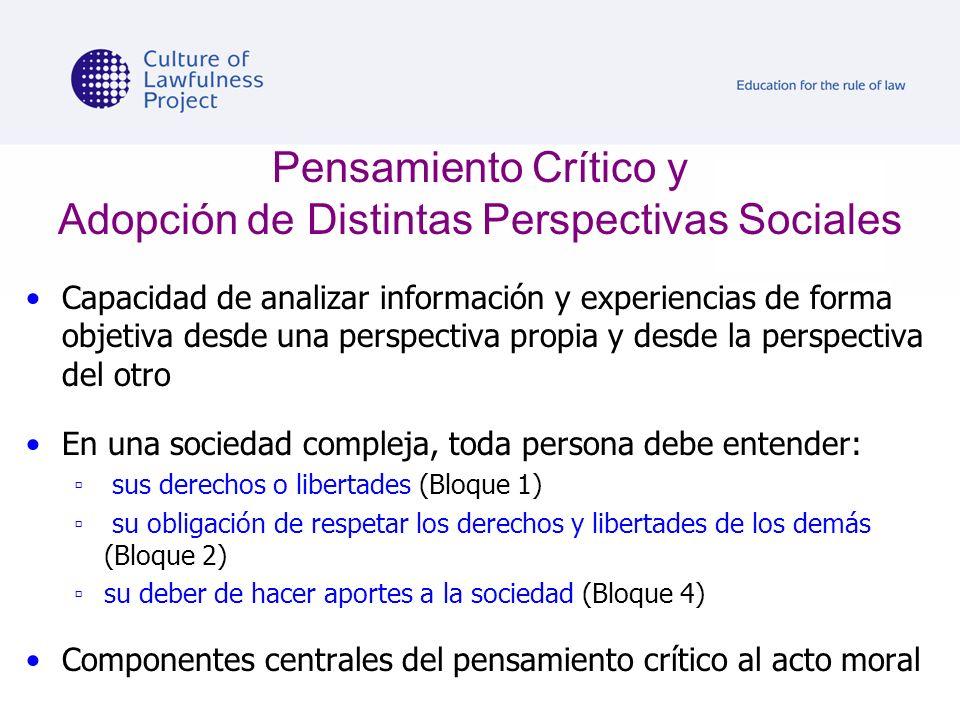 Pensamiento Crítico y Adopción de Distintas Perspectivas Sociales