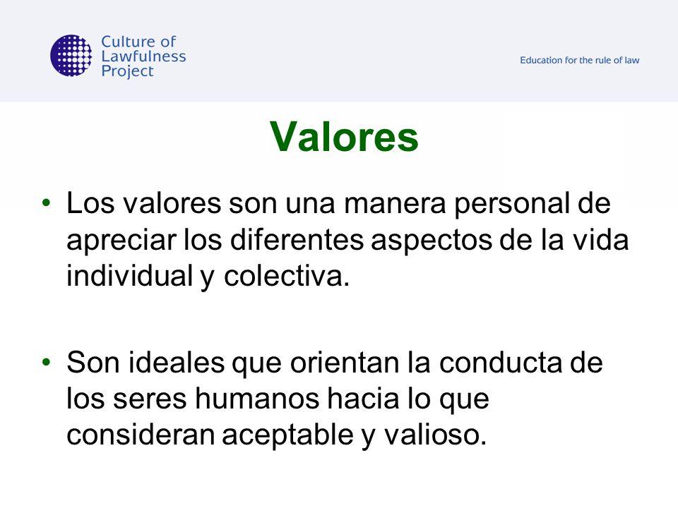 Valores Los valores son una manera personal de apreciar los diferentes aspectos de la vida individual y colectiva.