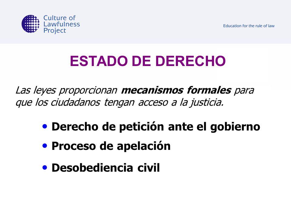 ESTADO DE DERECHO Derecho de petición ante el gobierno
