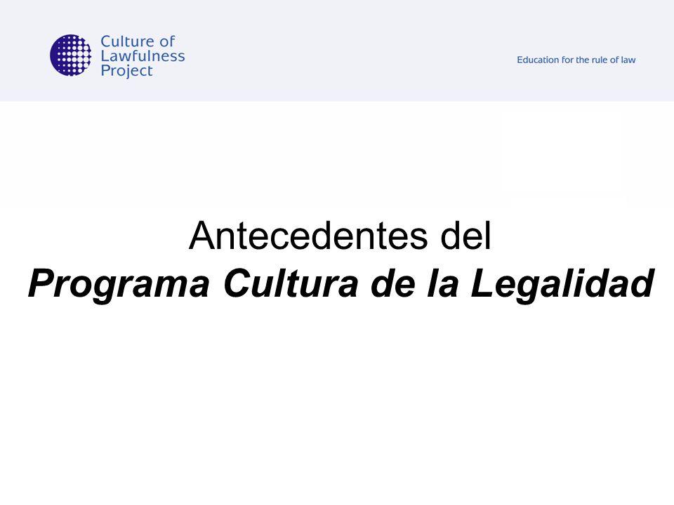 Antecedentes del Programa Cultura de la Legalidad