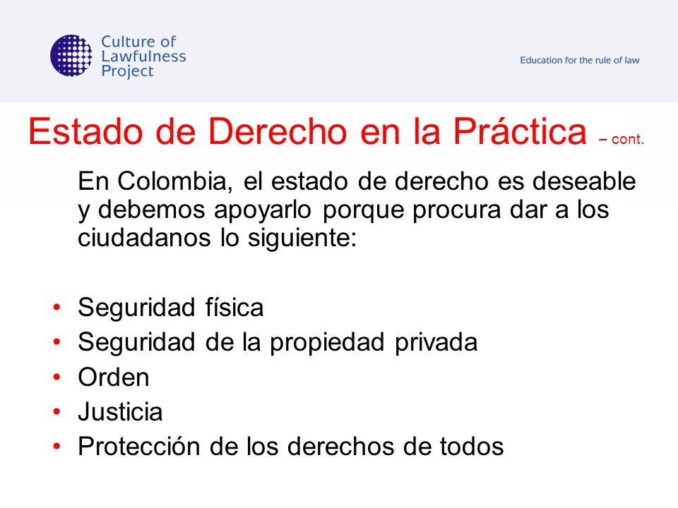Estado de Derecho en la Práctica – cont.
