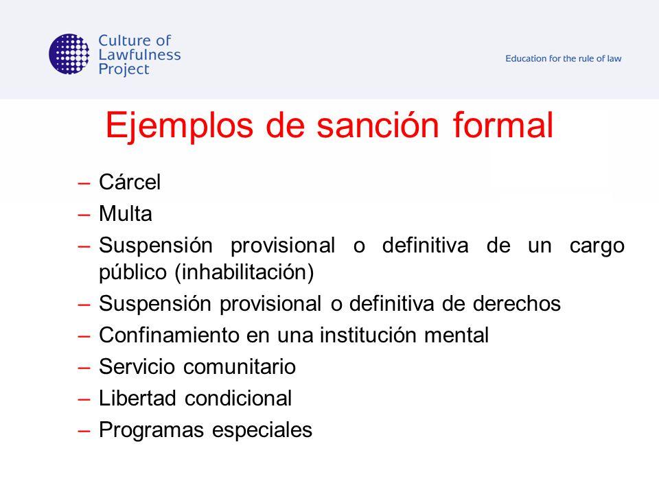 Ejemplos de sanción formal