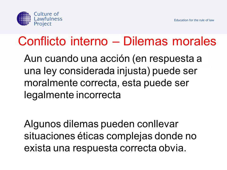 Conflicto interno – Dilemas morales