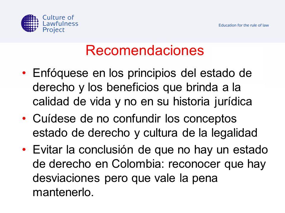 Recomendaciones Enfóquese en los principios del estado de derecho y los beneficios que brinda a la calidad de vida y no en su historia jurídica.