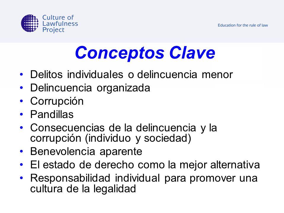 Conceptos Clave Delitos individuales o delincuencia menor