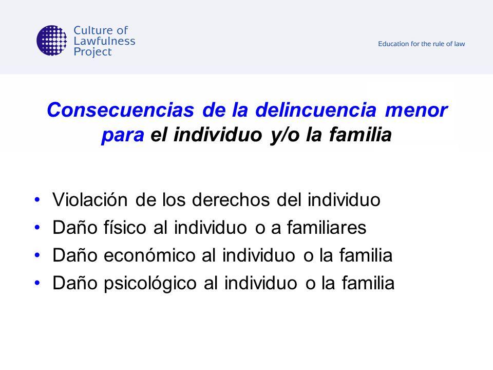 Consecuencias de la delincuencia menor para el individuo y/o la familia
