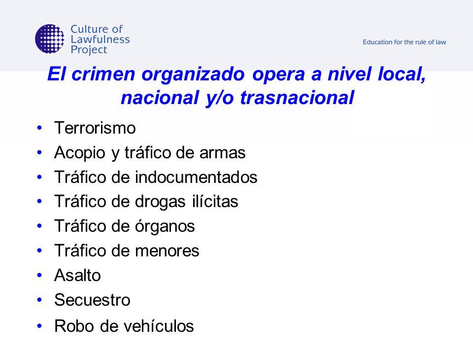 El crimen organizado opera a nivel local, nacional y/o trasnacional