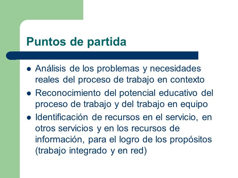 Puntos de partida Análisis de los problemas y necesidades reales del proceso de trabajo en contexto.
