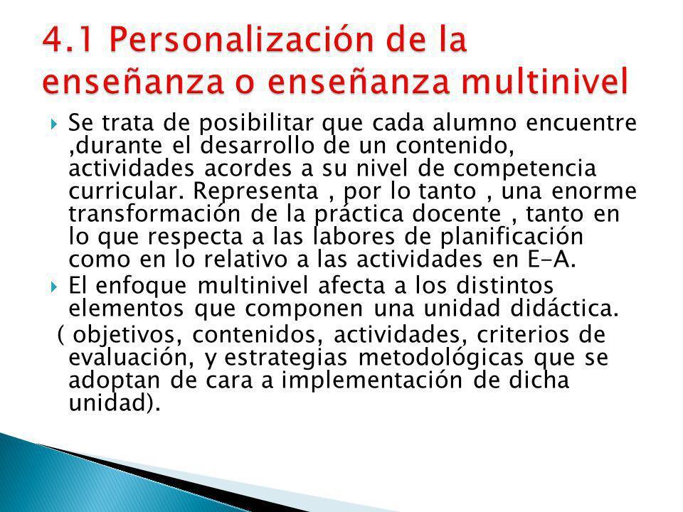 4.1 Personalización de la enseñanza o enseñanza multinivel