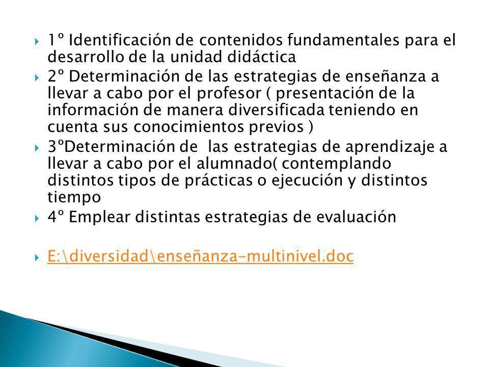 1º Identificación de contenidos fundamentales para el desarrollo de la unidad didáctica