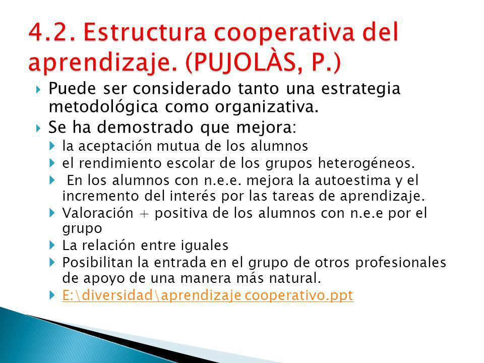 4.2. Estructura cooperativa del aprendizaje. (PUJOLÀS, P.)