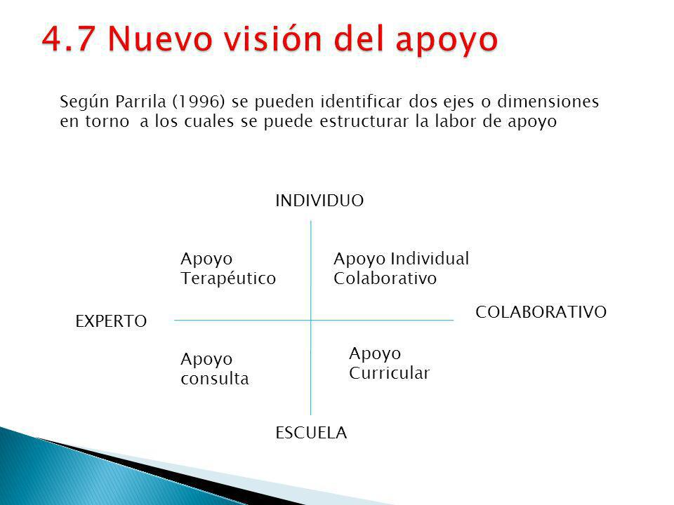 4.7 Nuevo visión del apoyo Según Parrila (1996) se pueden identificar dos ejes o dimensiones.