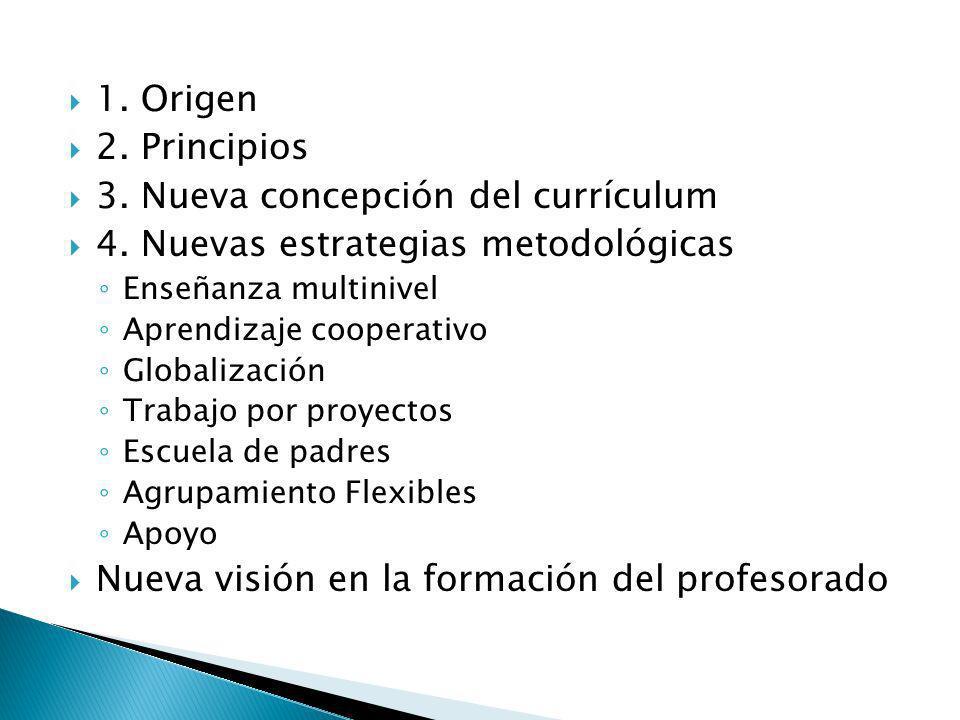 3. Nueva concepción del currículum 4. Nuevas estrategias metodológicas