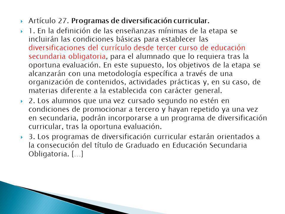 Artículo 27. Programas de diversificación curricular.