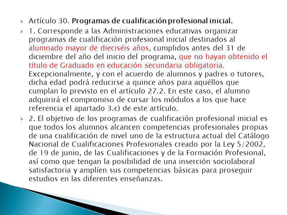 Artículo 30. Programas de cualificación profesional inicial.