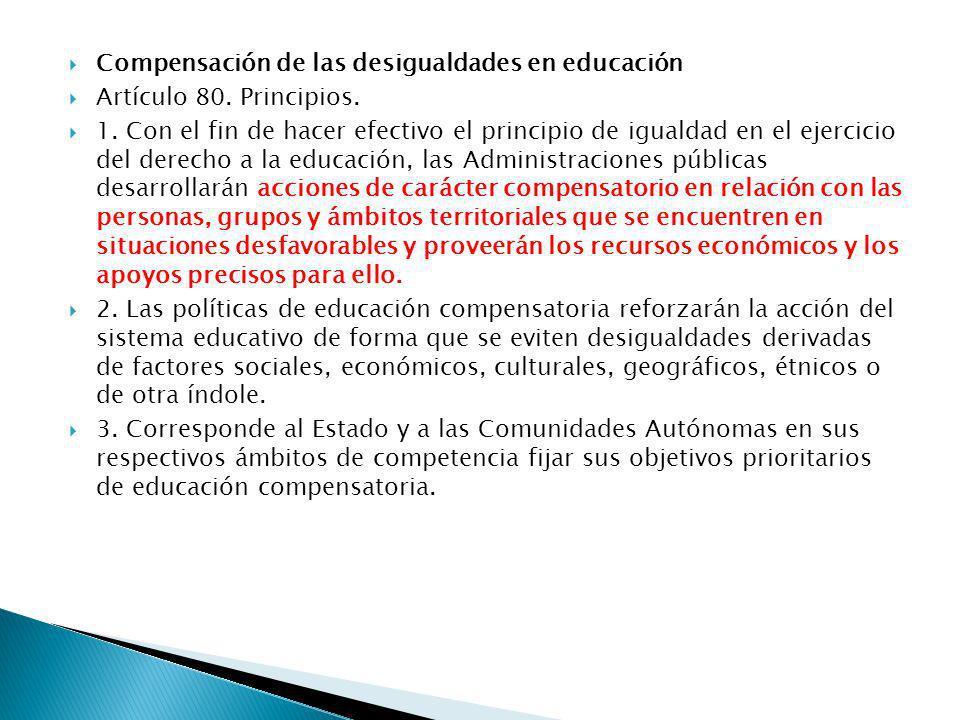 Compensación de las desigualdades en educación