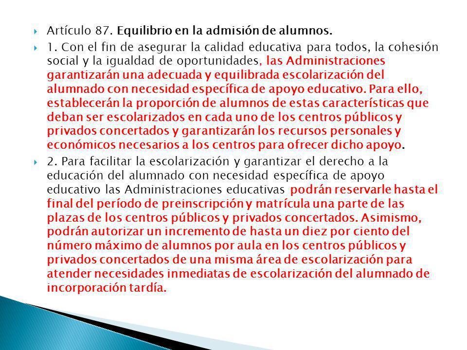 Artículo 87. Equilibrio en la admisión de alumnos.