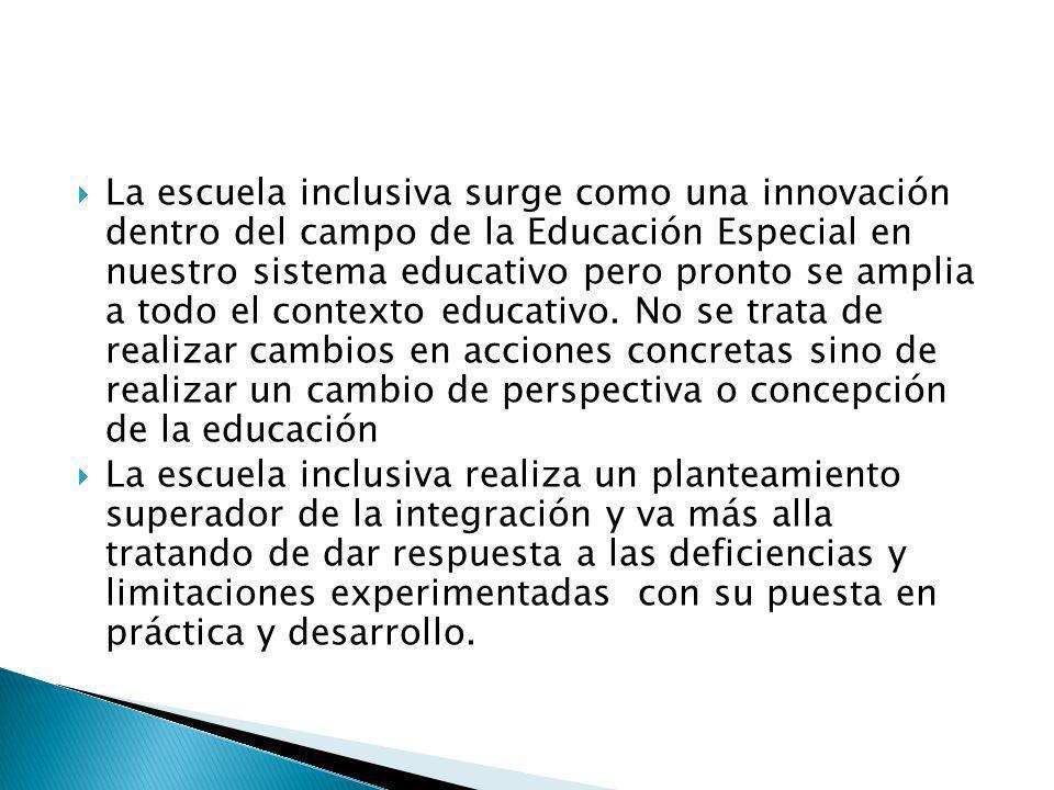 La escuela inclusiva surge como una innovación dentro del campo de la Educación Especial en nuestro sistema educativo pero pronto se amplia a todo el contexto educativo. No se trata de realizar cambios en acciones concretas sino de realizar un cambio de perspectiva o concepción de la educación