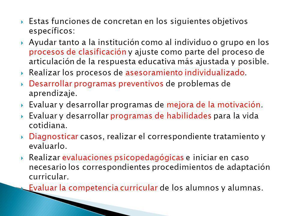 Estas funciones de concretan en los siguientes objetivos específicos: