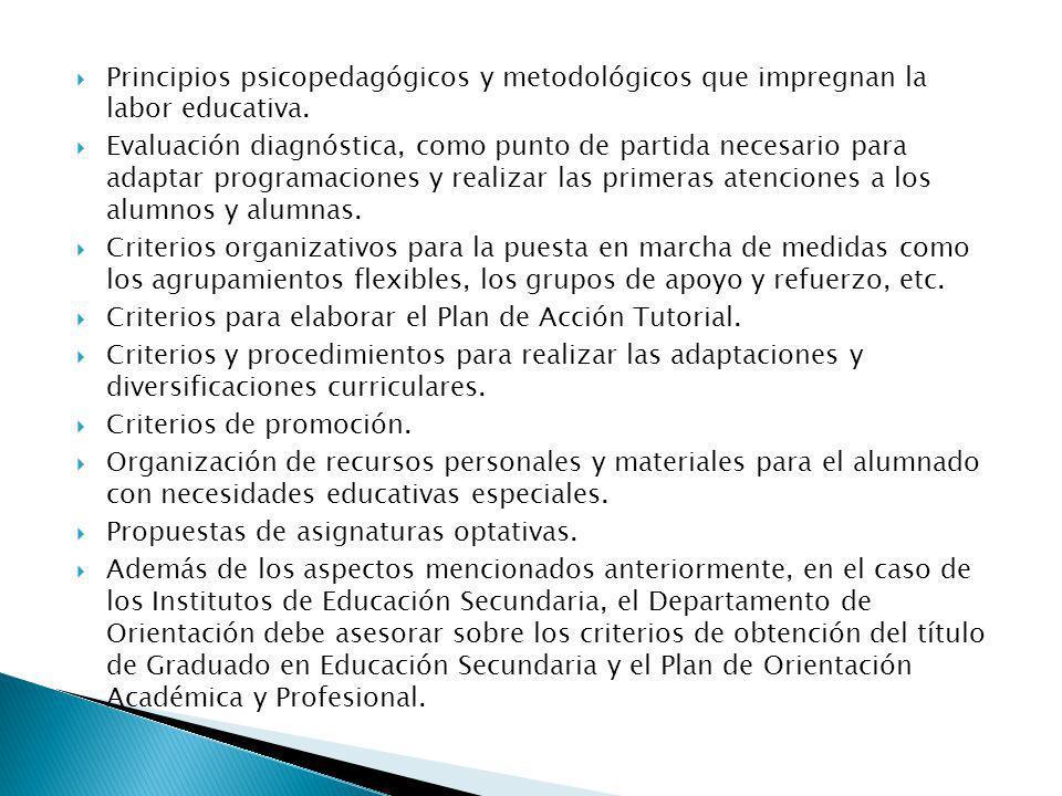 Principios psicopedagógicos y metodológicos que impregnan la labor educativa.