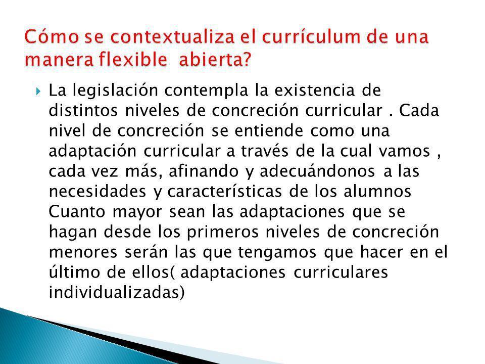 Cómo se contextualiza el currículum de una manera flexible abierta