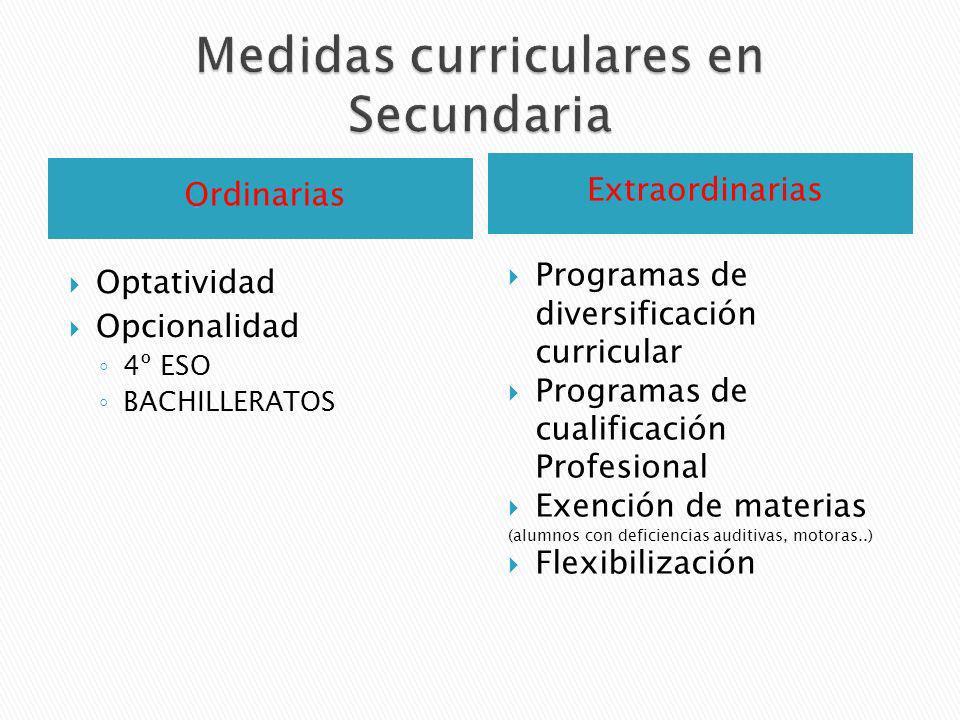 Medidas curriculares en Secundaria