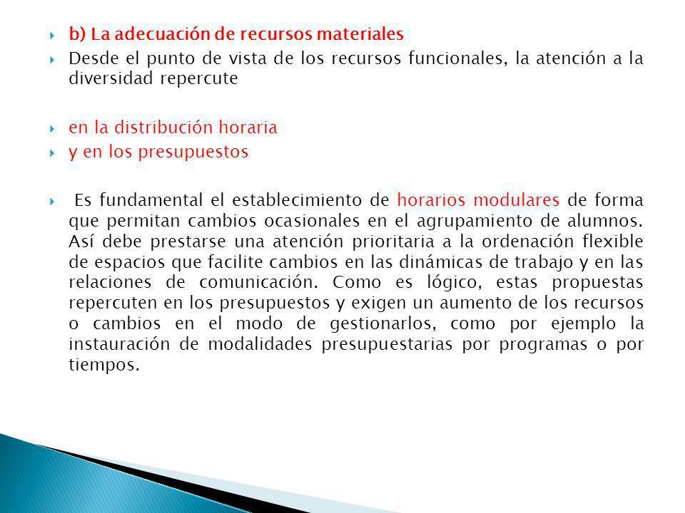 b) La adecuación de recursos materiales