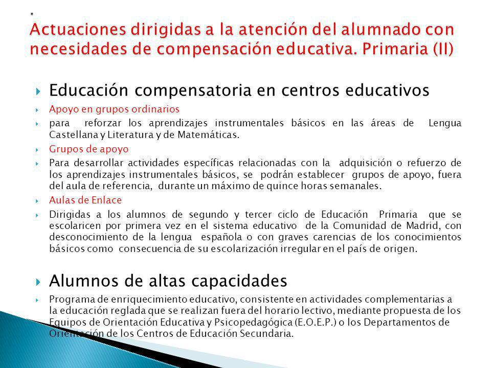 Educación compensatoria en centros educativos