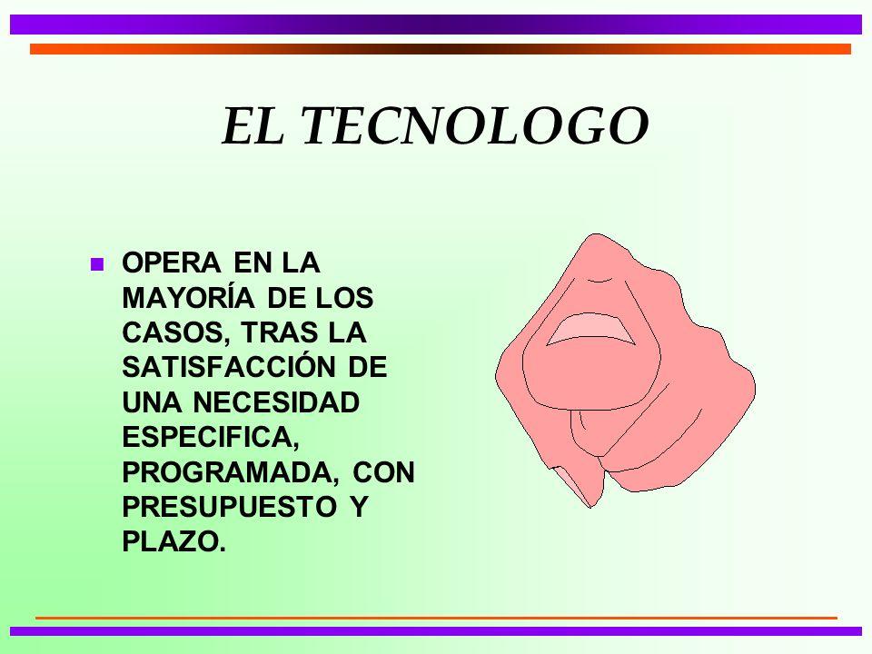 EL TECNOLOGO OPERA EN LA MAYORÍA DE LOS CASOS, TRAS LA SATISFACCIÓN DE UNA NECESIDAD ESPECIFICA, PROGRAMADA, CON PRESUPUESTO Y PLAZO.