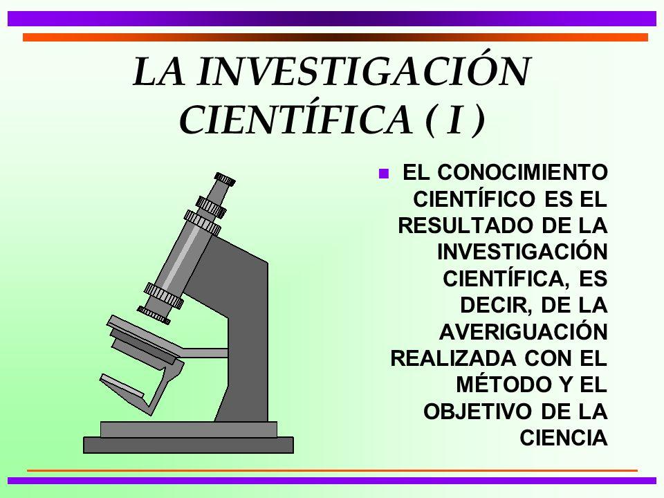 LA INVESTIGACIÓN CIENTÍFICA ( I )