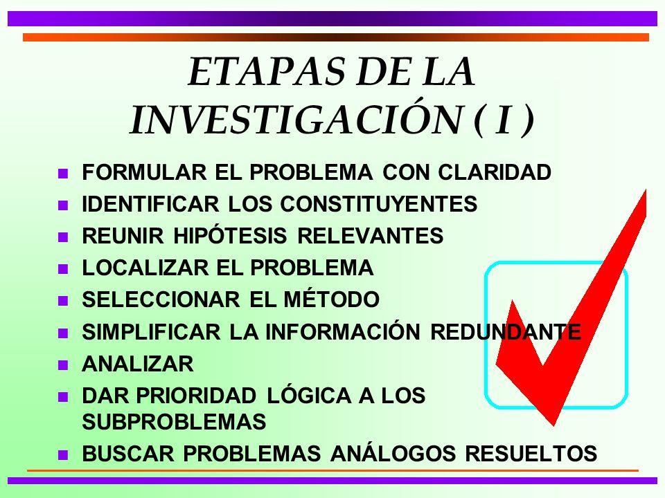 ETAPAS DE LA INVESTIGACIÓN ( I )