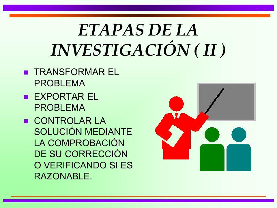ETAPAS DE LA INVESTIGACIÓN ( II )