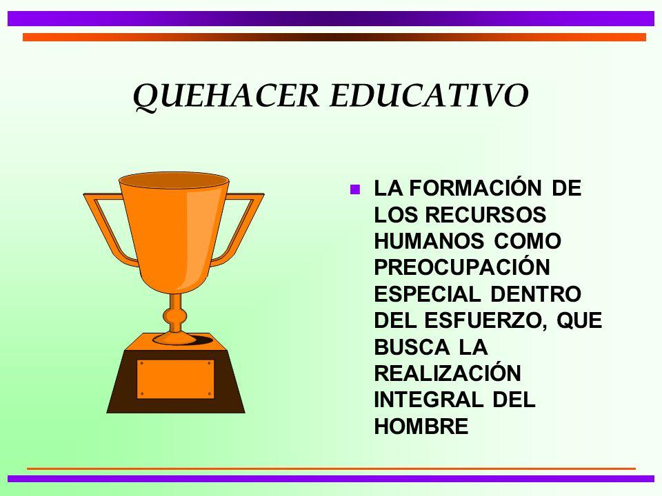 QUEHACER EDUCATIVO LA FORMACIÓN DE LOS RECURSOS HUMANOS COMO PREOCUPACIÓN ESPECIAL DENTRO DEL ESFUERZO, QUE BUSCA LA REALIZACIÓN INTEGRAL DEL HOMBRE.