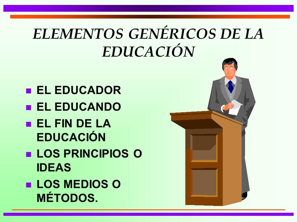 ELEMENTOS GENÉRICOS DE LA EDUCACIÓN