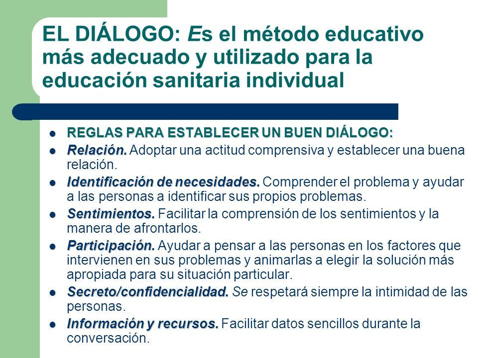 EL DIÁLOGO: Es el método educativo más adecuado y utilizado para la educación sanitaria individual