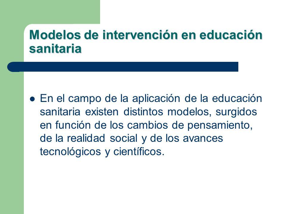 Modelos de intervención en educación sanitaria