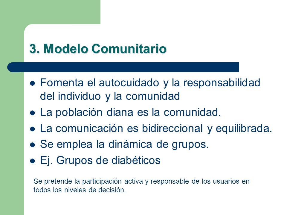 3. Modelo Comunitario Fomenta el autocuidado y la responsabilidad del individuo y la comunidad. La población diana es la comunidad.